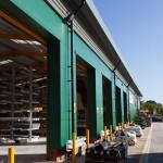open warehouse vehicle access doors at builders merchants