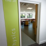 doorway entrance to physics classroom with sign at Portsmouth Grammar School New Science Block
