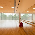 Dance studio and mirror wall at Notting Hill Ealing High School