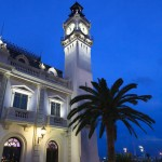 The clock Tower  the Port Authority of Valencia Building at dusk