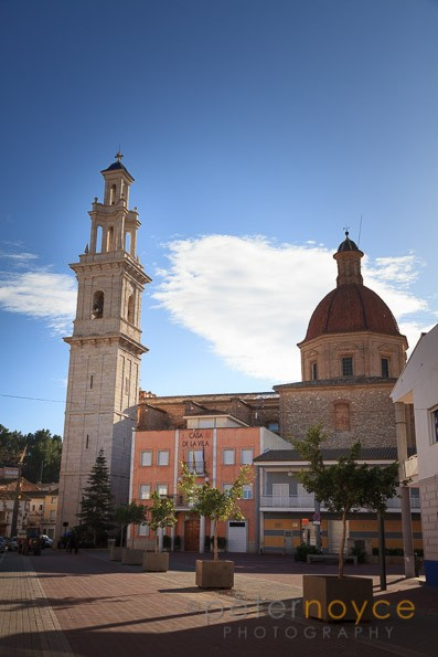 Church of the Nativity of Our Lady and Plaza Vicent Ribes in Turis Spain