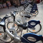 Rows of Valencia cycle hire bicycles awaiting customers