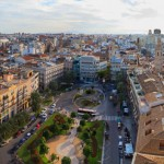 High viewpoint panorama of Valencia Spain and the Plaza de la Reina from the Miguelete Bell Tower